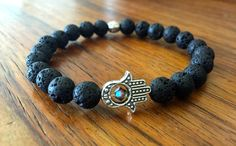 Black Lava Stone Hamsa Bracelet by DesignsbyLolaBelle on Etsy