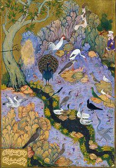The Conference of the Birds, Persian Manuscript, detail, circa 1600, Safavid, Iran (Isfahan)