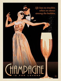 Champagne Is For Lovers - This elegant print is sure to add a sense of…