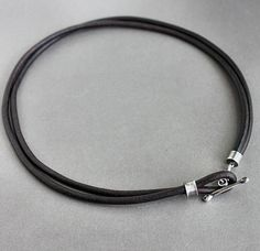 Mens Leather Necklace Rustic Silver Toggle Natural Brown. $75.00, via Etsy.