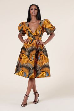The stunning pink and gold pattern does the talking here, ensuring heads will be turned when you walk by! T-shirt sleeves give this gorgeous dress a relaxed vibe, making it more low-key and wearable. Ankara Clothing, African Print Clothing, African Print Dresses, African Print Fashion, African Fashion Dresses, African Dress, African Prints, Ankara Gown Styles, Ankara Dress