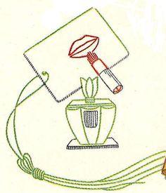 Hand Embroidery PATTERN 7397 Lipstick Perfume Make by BlondiesSpot