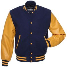 Navy Blue Wool and Gold Vinyl Letterman Jacket - CV136 US ($149) ❤ liked on Polyvore featuring outerwear, jackets, blue jackets, wool jacket, college jacket, blue varsity jacket and varsity letter jackets