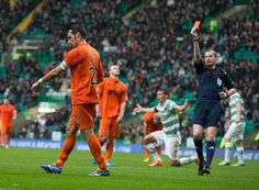 Celtic 2 Kilmarnock 0 in Oct 2014 at Parkhead. Kilmarnock captain Manuel Pascali is sent off after 33 minutes #ScotPrem