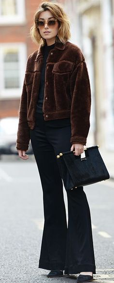 Carmen Hamilton  Brown Faux Fur Jacket Black Flare Pants Fall Streetstyle Inspo