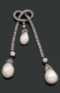 A rare pearl, diamond, gold and silver ribbon bow brooch, circa 1890-1900. Designed as a stylised ribbon bow, set with rose-cut diamonds, suspending three pear-shaped pearls, mounted in gold and silver.