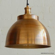 BROOKLYN DOME LAMPSHADE - BRASS COPPER - VINTAGE INDUSTRIAL DESIGNER METAL BAR RESTAURANT PENDANT LIGHT - 33 cm / 13 inch