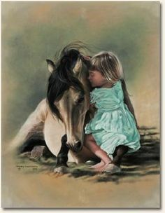 """""""Childhood Magic"""" Canvas by Lesley Harrison. Reminds me of a story once told to me of the bond between my mom & my grandfather's horse. I loved hearing my grandfather tell me that story♥"""