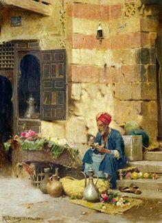 THE FLOWER SELLER, 1891 - By Raphael Von Ambros