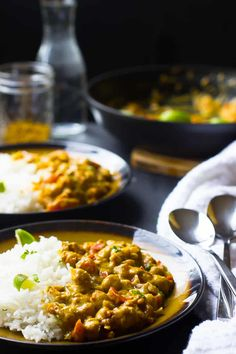 This Creamy Vegan Coconut Chickpea Curryis the BEST curry I've ever had! All it takes is one pot, it's loaded with homemade groundspices and incredibly flavorful! Chickpea Recipes, Vegetable Recipes, Vegetarian Recipes, Cooking Recipes, Healthy Recipes, Gf Recipes, Bean Recipes, Pumpkin Recipes, Crockpot Recipes