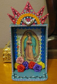 Guadalupe VIrgin Mary Mexican folk art shrine / Rainbow colorful ...