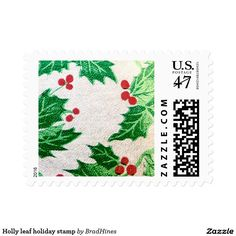 Holly leaf holiday stamp