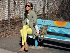 """a walk in the park"" neon jeans cargo jacket alexander wang diego bucket bag  abercrombie & fitch sweater minnetonka kilty leopard moccasins marc by marc jacobs round sunglasses"