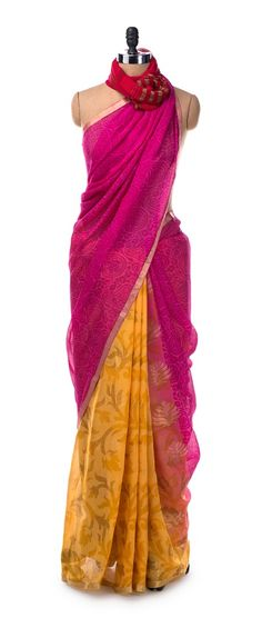 This pink and yellow saree has been cut from easy to wear, lightweight georgette and features a zari border. It's a must buy this summer.