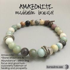 Yoga Meditation. Healing Spiritual Mala. Bead Bracelet. - SUCCESS & ABUNDANCE: Amazonite • Leather Knot Yoga Mala Bead Bracelet - Karma Arm. - 1