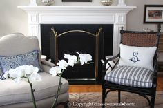classic • casual • home: New White and Blue Living Room Project