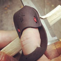 A simple leather thimble useful for carving
