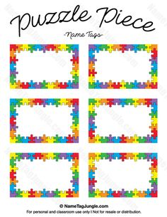 puzzle piece name tags - Name Tag Template Free Printable