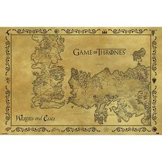 Antique Map - Poster par Game Of Thrones