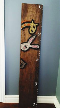 String Art- nails, stained wood, growth chart, kids, colourful, animals, handmade, custom, height  Made By: Jennifer MacLeod Schutt