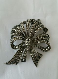 Stylised Silver Feather Pin Retro Pins 800 Silver 1940s Jewelry to 1950s Jewelry UK Marcasite Pins Marcasite Brooch Marcasite Jewelry