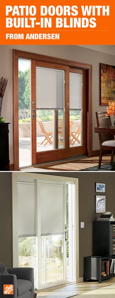 Andersen gliding patio doors with built-in blinds allow for convenience and easy cleaning. With a cordless design that allows you to easily raise, lower or tilt the blinds, you have full control over the light that enters your home and you gain privacy. Sliding Patio Doors, Exterior Doors, Windows And Doors, Home Accents, French Doors, Home Projects, Home Remodeling, House Plans, Sweet Home