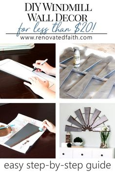 With this stepbystep guide I show you how to make your own DIY windmill wall decor for less than 20 using ceiling fan blades. Farmhouse Side Table, Farmhouse Style, Farmhouse Decor, Country Decor, Modern Farmhouse, Farmhouse Wall Art, Farmhouse Garden, Country Living, Rustic Decor