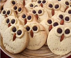 OWL COOKIES - simple sugar cookie with m&m eyes and an almond for the beak.