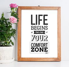"""Travel Quote Printable Poster """"Life begins at the end of your comfort zone"""" Typographic Art Inspirational Travel Print Digital Download"""