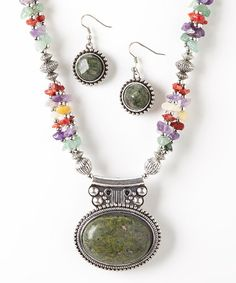 Love this Silver & Green Aventurine Pendant Necklace & Earrings on #zulily! #zulilyfinds