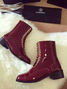 Chanel short leather boot Dark red