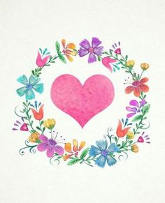 pink heart and flower wreath. Cute Wallpapers, Wallpaper Backgrounds, Iphone Wallpaper, Floral Letters, Monogram Wreath, Instagram Highlight Icons, Jolie Photo, Watercolor Paintings, Art Drawings