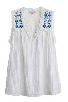Kishida Embroidered Cotton Top   | Calypso St. Barth
