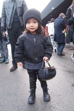 Aila Wang with a little bag from her uncle's brand: Alexander Wang <3
