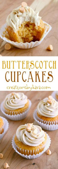 Butterscotch Cupcakes with Butterscotch Frosting - These Butterscotch cupcakes are packed with flavor and so tender! The butterscotch frosting is incr - Easy To Make Desserts, Just Desserts, Delicious Desserts, Dessert Recipes, Healthy Cupcake Recipes, Mini Cakes, Cupcake Cakes, Cupcake Ideas, Sweets Cake