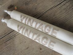 Stamped Candles  Vintage  Set of 2 by frenchcountry1908 on Etsy, $5.99
