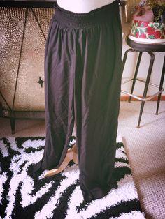 Retro Wide Leg Pants M Black Swing Pinup Rockabilly 30s 40s