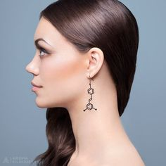 Resveratrol Molecule Earrings - Matte Black