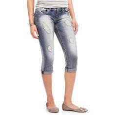 No Boundaries Juniors' Denim Crop Capri Pants with Backflap Pockets, Size: 15, Gray