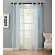 Bevery Embossed 84-Inch Grommet Top Sheer Curtain Panel Pair Seagreen - Walmart.com
