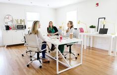 Parsons Desks + Industrial Task Lamps + Swivel Leather Desk Chairs from West Elm by aisha