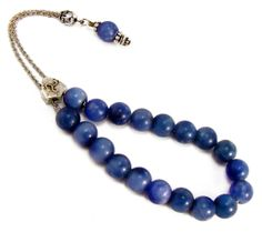 Blue Agate Komboloi Greek Worry Beads Metal by sunnybeadsbythesea, $31.00