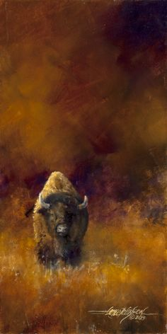 This an oil on gessoed watercolor board by Lance Johnson Buffalo Painting, Buffalo Art, Watercolor Animals, Watercolor Paintings, Cowboy Art, Wildlife Art, Wildlife Paintings, Native American Art, American Bison