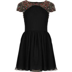 TOPSHOP Embellished Shoulder Skater Dress ❤ liked on Polyvore (see more embellished short dresses)