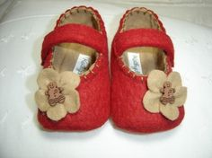 adorable felted Mary Jane booties