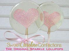 Light Pink Lollipops, Light Pink Sparkle, Heart Lollipops, Pink Favors, Pink Wedding Favor, Lollipops, Sweet Caroline Confections-Set of Six by SweetCarolineConfect on Etsy https://www.etsy.com/listing/239587152/light-pink-lollipops-light-pink-sparkle