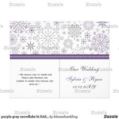 """purple gray snowflake bi fold Wedding program purple gray snowflake mod elegant winter wedding book fold Wedding program, you will have to manually fold these programs. click """"clear"""" on you right if you want to remove folding lines on front and back these folding lines are given to guide you that none of your text runs into other side. Matching products also available."""