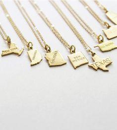 Custom State Charm Brass Necklace
