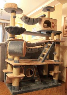 Plush custom condo for the extra spoiled kitty - wow, my kitties would have a ball on this!!!! #cat http://pinterest.com/ahaishopping/