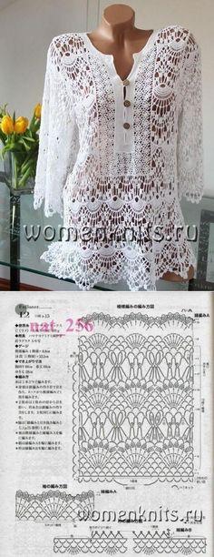 Fabulous Crochet a Little Black Crochet Dress Ideas. Georgeous Crochet a Little Black Crochet Dress Ideas. Blouse Au Crochet, Crochet Shirt, Crochet Cardigan, Pull Crochet, Crochet Lace, Crochet Stitches, Crochet Tops, Crochet Woman, Irish Crochet